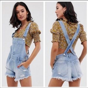 NWT Free People June Denim Shortall Overall